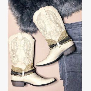 Cream Embellished Western Cowboy Boots